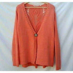 Soft Surroundings Orange 1 Button Boho Cardigan Lg
